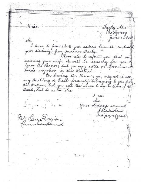 Discharge from Indian Treaty - 1886